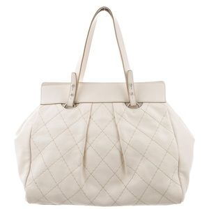 CHANEL Bags - Chanel Ivory Quilted Leather CC Twist Lock Tote